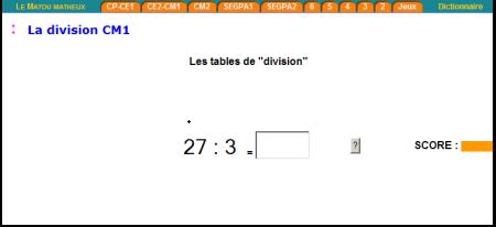 Tables division mélangées - Matou matheux CM1