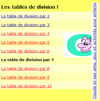 Tables division Claude