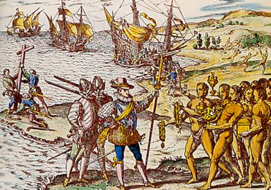 Christophe Colomb arrive en Amérique, gravure par Théodore de Bry