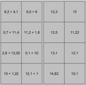 Addition des décimaux - JClic