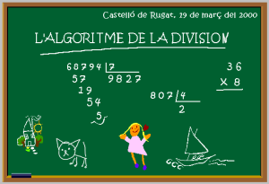 Entraînement division euclidienne à un chiffre avec JClic