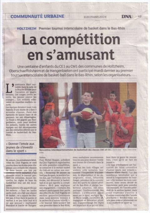 Tournoi de basket ball intervillages : l'article des Dernières Nouvelles d'Alsace